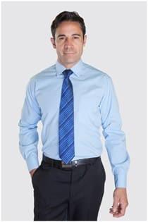 Unifarbenes Langarm-Dresshemd.