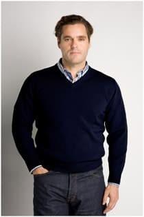 Pullover mit V-Ausschnitt aus Wolle und Acryl