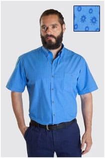 Bedrucktes Oberhemd mit kurzen Ärmeln von Plus Man.