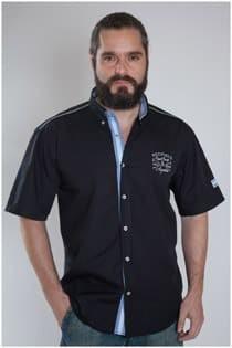 Uni-Oberhemd mit kurzen Ärmeln von Redfield.