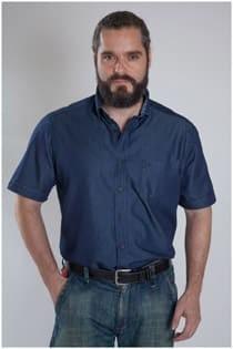 Jeansoberhemd mit kurzen Ärmeln von Casamoda.