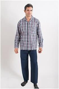 Karierter Pyjama aus Baumwolle mit Knöpfen.