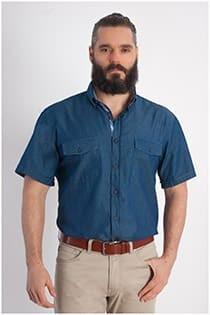 Jeansoberhemd mit kurzen Ärmeln von Olive.