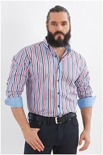 Gestreiftes Oberhemd in Überlänge von Plus Man.