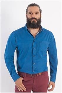 Uni Oberhemd mit langen Ärmeln aus Twill von Casamoda.