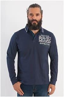 Polohemd aus Baumwoll-Jersey mit langen Ärmeln von Forestal.