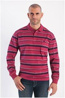 Gestreiftes Polohemd mit langen Ärmeln von Plus Man.