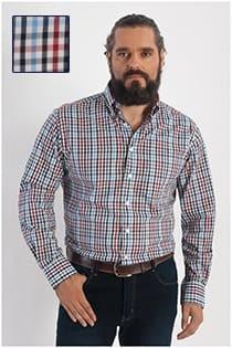Kariertes Langarm-Oberhemd von GCM Henderson.