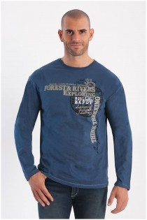 Langarm-T-Shirt mit großem Aufdruck von Forestal.