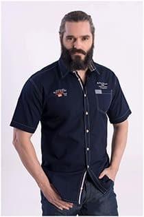 Uni-Oberhemd mit kurzen Ärmeln von Kitaro.