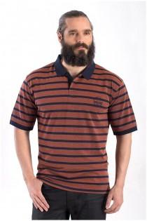 Gestreiftes elastisches Kurzarm-Polohemd von Hajo.
