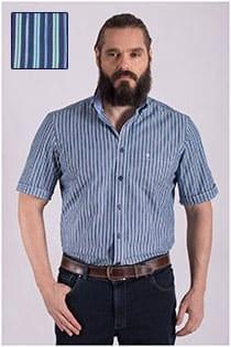 Gestreiftes Kurzarm-Oberhemd von Casamoda.
