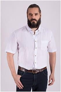 Kurzarm-Oberhemd aus Leinen von Casamoda.