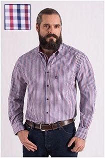 Kariertes Langarm-Oberhemd, extra lang, von Plus Man.