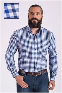 Kariertes Langarm-Oberhemd mit kleinem Aufdruck von Carlos Cordoba.