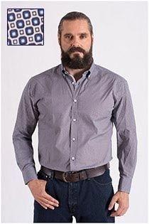 Bedrucktes Langarm-Oberhemd von Plus Man.