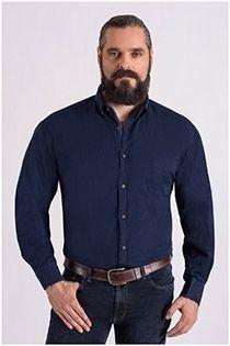 Uni Langarm-Oberhemd von Plus Man.