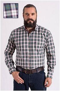 Kariertes Langarm-Oberhemd von Plus Man mit Fischgrätenmuster.