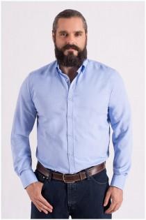 Uni Oxford Langarm-Oberhemd von Plus Man.