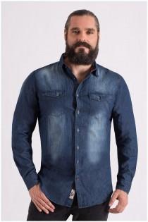 Extra langes, gewaschenes Denimhemd von D555.