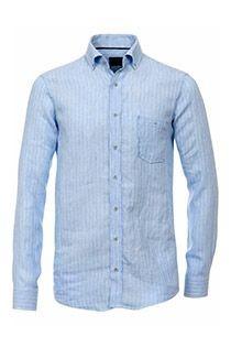Gestreiftes Langarm-Leinenhemd von Casamoda.