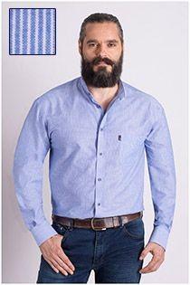 Gestreiftes sportliches Langarm-Oberhemd von Plus Man.