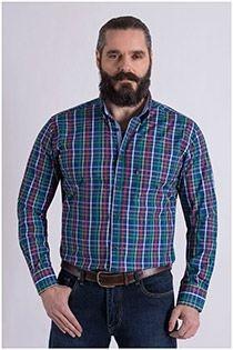 Kariertes Langarm-Oberhemd von Casamoda.