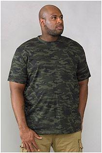 EXTRA LANGES Kurzarm-T-Shirt Camouflage von D555.