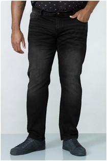 Extra lange elastische Black Denim Jeans von D555.