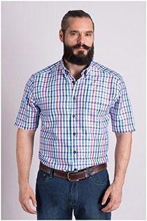 Kariertes Kurzarm-Oberhemd von Plus Man.