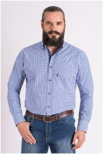 Kariertes Langarm-Oberhemd von Plus Man.