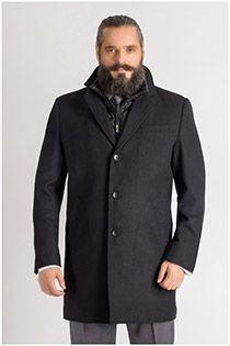 Mantel mit doppeltem Kragen von Plus Man.