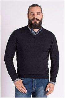Pullover mit V-Ausschnitt in Langgröße von Kitaro.