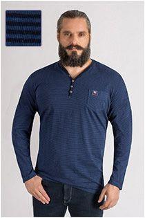 Gestreiftes Langarm-T-Shirt mit Brusttasche von Kitaro.