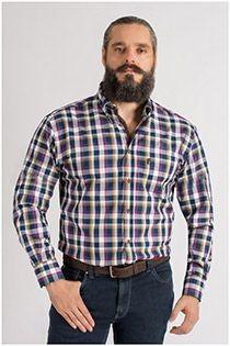 Kariertes Langarm-Oberhemd von Plus Man, EXTRA LANG.