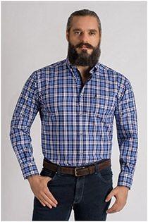 Langarm-Freizeithemd aus Baumwolle von Plus Man.
