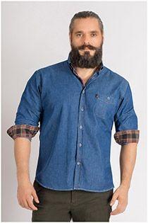 Denim Langarm-Oberhemd von Plus Man.