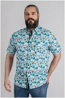 Kurzarmhemd Plus Man mit Allover-Print