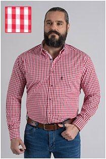 Langarm Karo-Oberhemd von Plus Man.