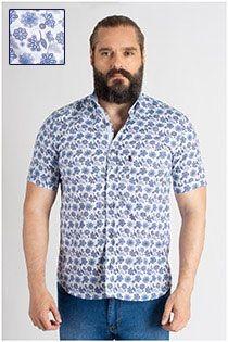 Allover bedrucktes Kurzarm-Oberhemd von Plus Man.