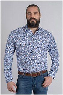 Allover bedrucktes Langarm-Oberhemd von Plus Man.
