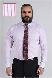 Extra lang gestreiftes Dresshemd von Plus Man