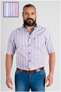 Gestreiftes Kurzarm-Oberhemd von Plus Man.