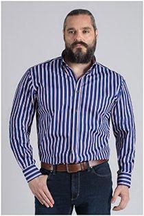 Gestreiftes Langarm-Oberhemd von Plus Man.