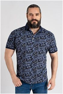 Kitaro Kurzarm-Poloshirt mit Allover-Print