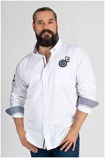 Redfield uni Langarm-Oberhemd aus Baumwolle.