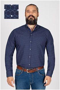 Bedrucktes Oberhemd von Plus Man mit extra langen Ärmeln.