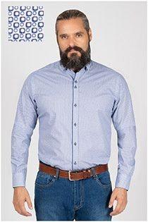 Bedrucktes extra langes Oberhemd von Plus Man.