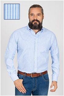 Langarm gestreiftes Oxfordhemd Plusman.