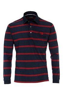 Gestreiftes Langarm-Poloshirt von Casamoda